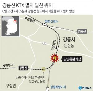 <font color='#0000ff'>[그래픽] 강릉선 KTX 열차 탈선 위치</font>